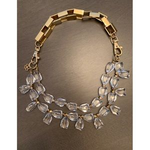 Ann Taylor Clear Drop and Gold Necklace